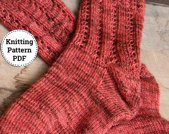 Knitting Pattern   Sock Pattern   Knitted Sock Pattern   Top Down Sock Pattern   Twisted