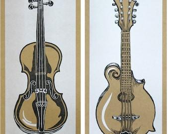 INSTRUMENT POSTERS, 6 prints, Fiddle poster, Banjo print, Mandolin linocut, Dobro wall art,Guitar poster, bluegrass music,gift for musicians