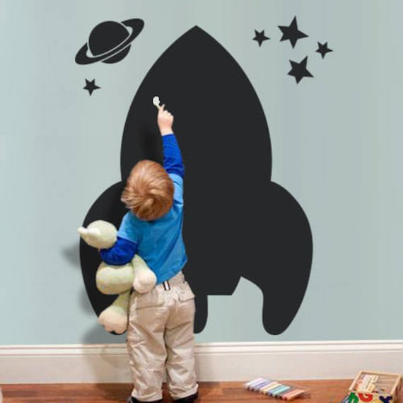 Spaceship Chalkboard Wall Decal by pinknbluebaby