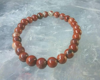 Red Jasper 6mm beaded Gemstone Bracelet. Strength and Courage