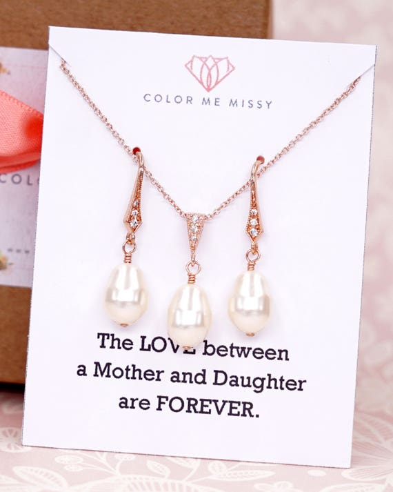 Rose Gold Swarovski Teardrop Pearl Earrings Necklace - gifts for her, Bridesmaid wedding bridal shower jewelry gifts, E322 N236