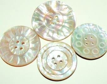 Antique Buttons ~ Victorian Iridescent Pearl Buttons ~ Antique Carved Pearl Buttons