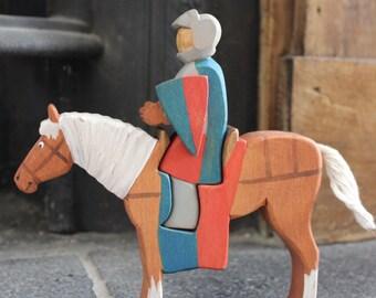 Knight on Horseback Wooden Waldorf Toy