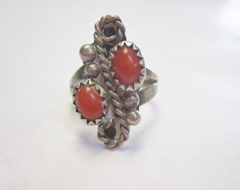 Vintage Old Pawn Silver & Coral Ring