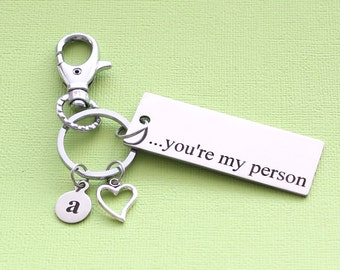 Personalized Love Key Chain You Are My Person Stainless Steel Customized with Your Charm & Initial - K660