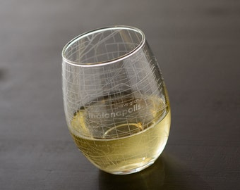 Indianapolis Map Stemless Wine