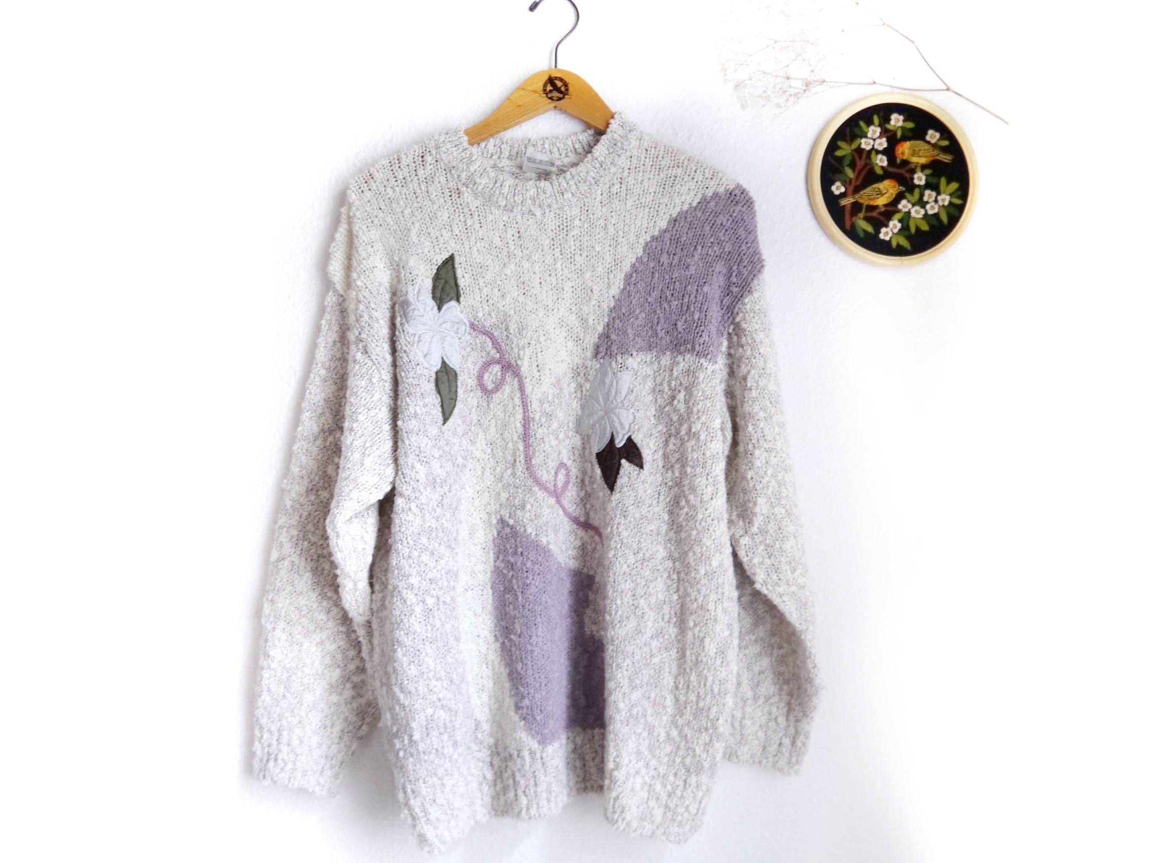 80s sweater women\'s novelty knit pullover ecru white