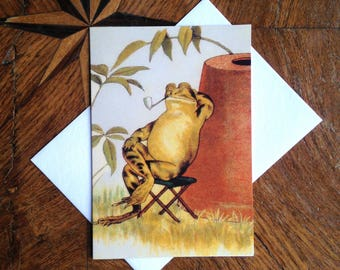 Taking It Easy.  Vintage Frog Greeting Card Repro.