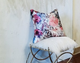 Designer Pillow Cover Silky Floral Rose Orchids Watercolor Abstract Pillow Cover Sham Home Decor Decorator Fabrics 20 by 20 in