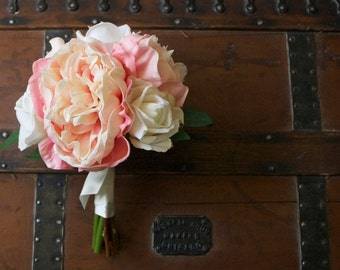 Real Touch Pale Pink Peony Bouquet with Ivory Roses (Summer Wedding, Spring Wedding, Light Pink Bouquet, Peonies and Roses)