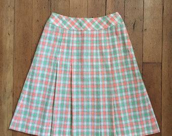 CLEARANCE vintage 1960s mini skirt // 60s plaid mini skirt