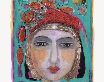 mixed media painting  girl woman whimsical flowers paper fancy hat perfume original modern folk art paper