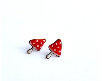 Stud Earrings, Tiny Studs, Mushrooms earrings, Red polka dots studs, Tiny red studs, Red mushrooms studspolymer clay ear posts, Red Studs
