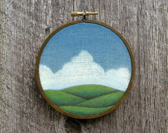 """Picnic Weather 4"""" round watercolor painting on linen"""