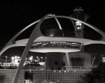 Black and White Photography, Los Angeles International Airport, Encounter Restaurant, Retro, The Theme Building, Black & White Photo
