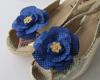 Blue leather shoe clips, Blue flowers for shoes, Pair of blue real leather shoe clips with pretty jewelled centre, Handmade leather flowers