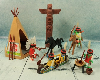 BOXED RARE complete Playmobil Geobra Native American Red Indian Village set 3483