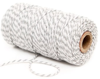 Bakers Twine, 12 Ply Bakers Twine, 100 Yard Spool of Twine, Gray Bakers Twine, Baby Shower Favor Decor, Gray Engagement Party Supplies Twine
