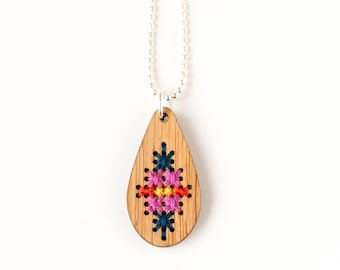 CLEARANCE: Modern Cross Stitch Jewelry Kit - Bamboo Teardrop Pendant with Multicolor Patterns