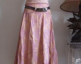 Boho floral skirt, high low skirt, asymetrical skirt, antique rose skirt, A-line skirt, womans clothing, midi skirt, cotton canvas skirt
