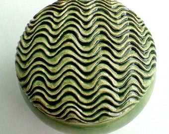 Carved  Ocean Waves Spring Green Lidded  Ceramic Jewelry Box
