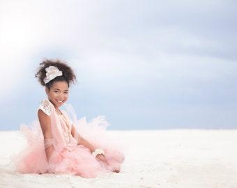Shabby Chic Tutu by Atutudes - Girls 1st birthday tutu - Blush Tulle Skirt - Blush Tutu