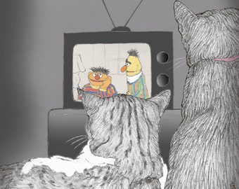 Ernie and Bert cats magnet  -  featuring Rafi and Spageti, the famous Israeli cats from Ha'aretz Newspaper Comics