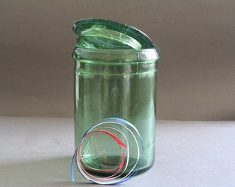 vintage french green glass canning jar - green glass pot - 3/4 liter