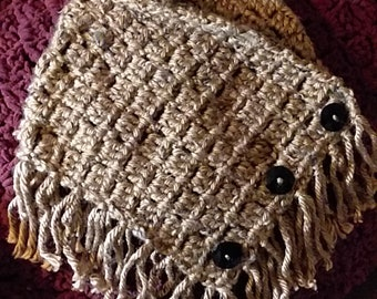 Button Cowl with Fringe