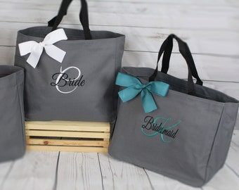 Mother of the bride Gift Tote, Teacher Gift, Personalized Bridesmaid Gift Tote Bag- Wedding Party Gift- Bridal Party Gift- Initial Tote
