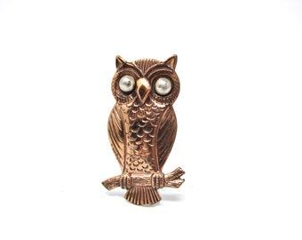 Vintage Bell Copper Owl Brooch Pin