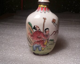 Vintage Hand Painted Cloisonne Father and Son Spending Time Together Snuff Bottle