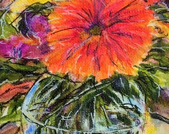 "Fine Art 5 X 7 Acrylic Painting ""Summer Bouquet"""