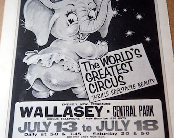 Vintage Circus Poster Cartoon Elephant Black  Gray & White Poster Size Book Plate