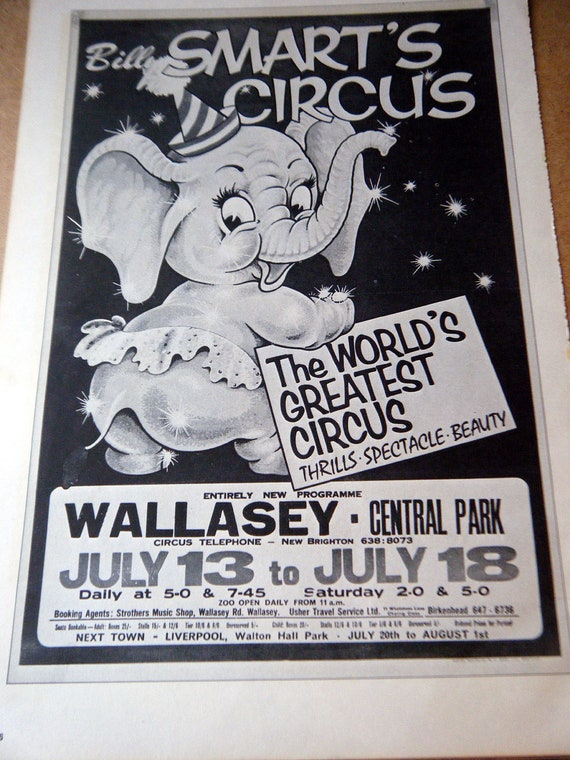 Vintage circus poster cartoon elephant black gray white