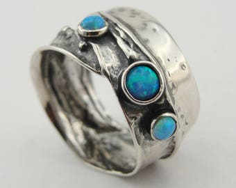 Fine opal Ring, 925 Sterling Silver size 7.5, blue stone ring. blue opal ring , Free Shipping, Israeli Jewelry, Gift (1881