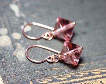 Rosaline Glass Earrings Peach Pink Earrings Copper Earrings