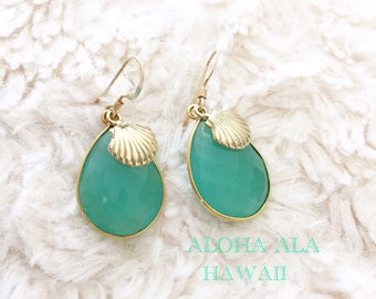 Natural Aqua chalcedony with Gold Shell