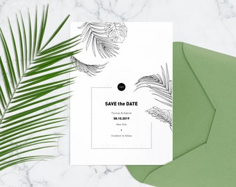 Tropical wedding save the date cards Destination wedding announcement Black and white printable wedding save date template Hawaiian wedding