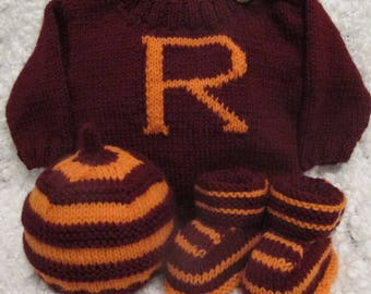 Hand knitted Harry Potter inspired Baby Set 0-3 months