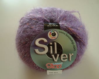 SILVER LANAS STOP - 50 g - purple - 4-5 needles - Mohair-Polyamide-acrylic and Lurex yarn