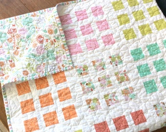 Modern Lap Quilt, Pink Teal Quilt, Handmade Patchwork Blanket, Homemade Quilts for Sale, Patchwork Throw, Ready to Ship
