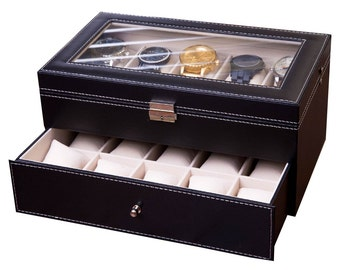 BIG Watch Box, Watch Case for Men, Watch Display Collector Piece, Jewelry Organizer, Boxes, XL Slots, Man Gift Valentines