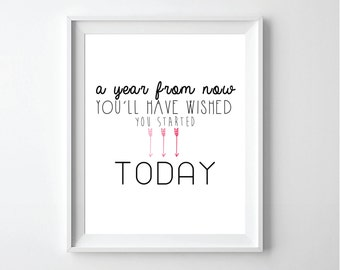 Printable Inspirational Quote- A Year from now