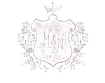 PREMADE Crest Logo Wedding Logo Crest Wedding Logo Wedding Monogram Save the date Watercolor Illustration Watercolor Monogram