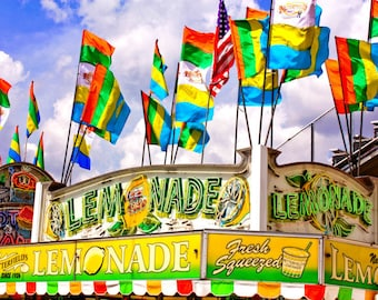 Carnival Lemonade Stand Fine Art Print- Carnival Art, County Fair, Nursery Decor, Home Decor, Children, Baby, Kids