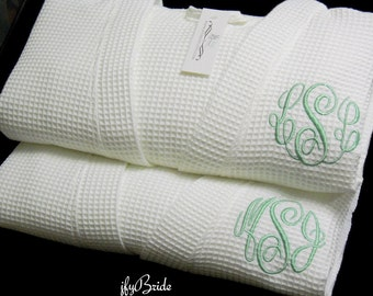 His and Hers Robes, Mr and Mrs Robes, Cotton Anniversary Gift, Couples Wedding Gift, Monogram Bathrobe, Monogram Robe, 1732MC Set of 2 Robes