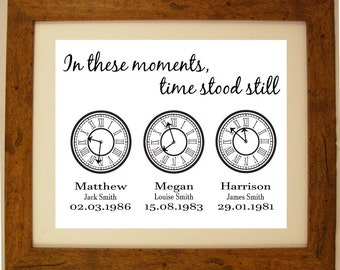 Personalised In these moments, time stood still clock Word Art Gift