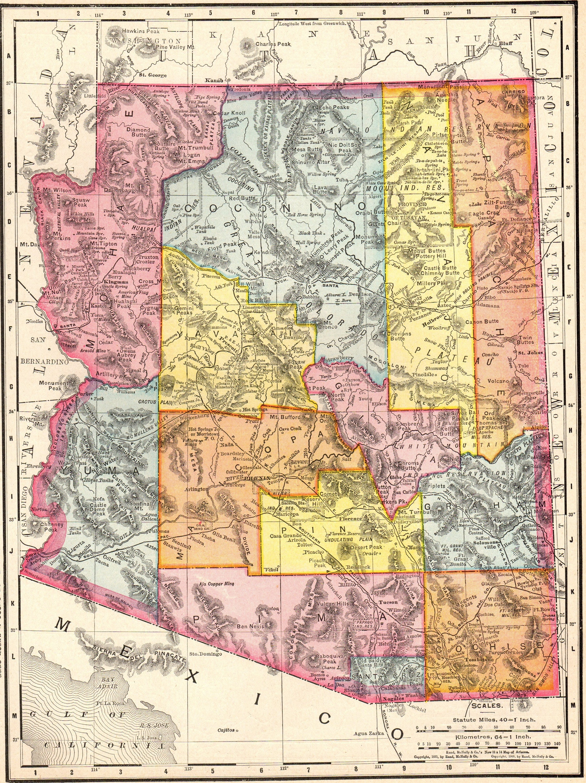 1911 Antique ARIZONA Map Vintage Map of Arizona Gallery Wall