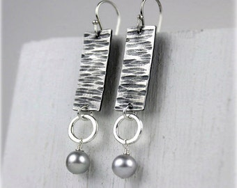 Hammered Silver Earrings with Freshwater Pearls, Geometric Dangle Earrings, Rectangle Earrings, Ready to Ship